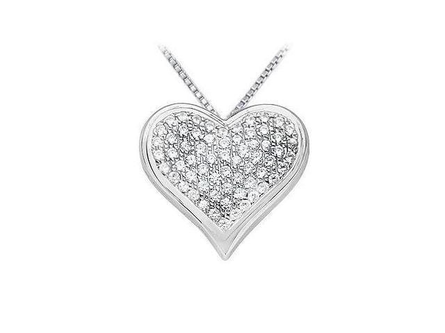 Diamond Heart Pendant  14K White Gold - 1.25 CT Diamonds