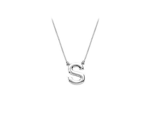 Sterling Silver Baby Charm S Block Initial Pendant