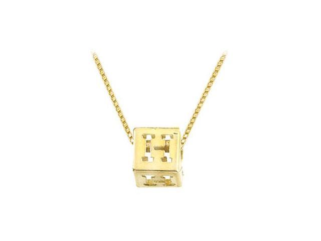 14K Yellow  Alphabet  H  Semi-Polished Block Initial Chain Slide Pendant with Outside Diameter
