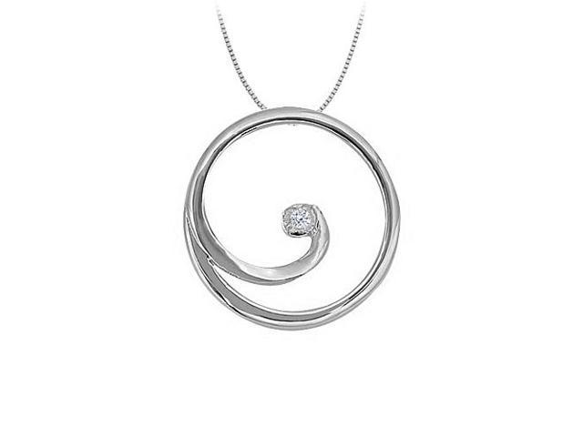 CZ Circle Pendant in 14K White Gold 0.02 CT TGW with White Gold ChainPerfect Jewelry Gift