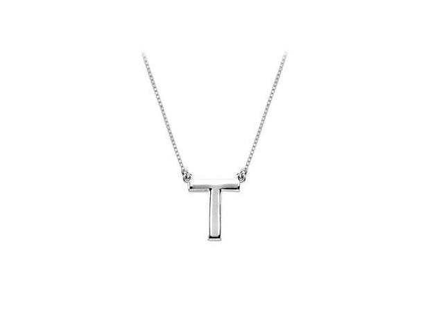 Sterling Silver Baby Charm T Block Initial Pendant