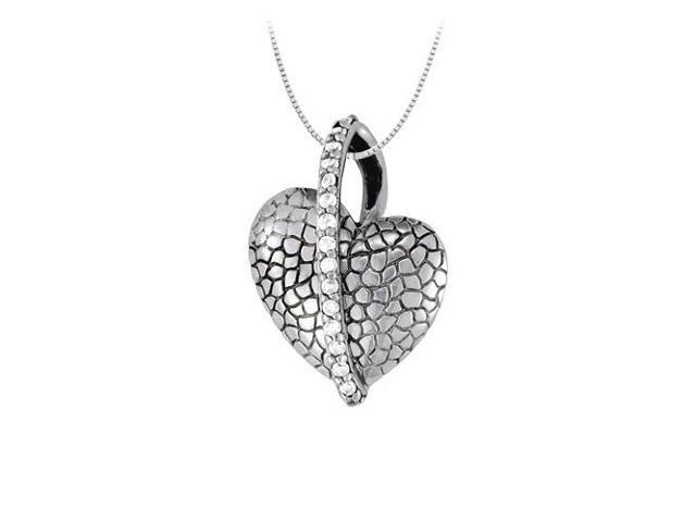 April birthstone Diamond Heart Pendant in 14K White Gold 0.25 CT TDWValentine Day Love Gift