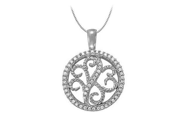 0.25 Carat Total Cubic Zirconia in 14K White Gold Floral Circle Fashion Pendant