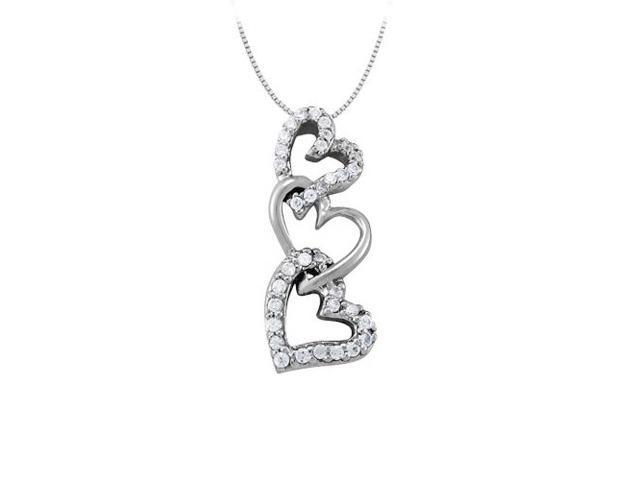 April birthstone Diamond Heart Pendant in 14K White Gold 0.33 CT TDWValentine Day Love Gift