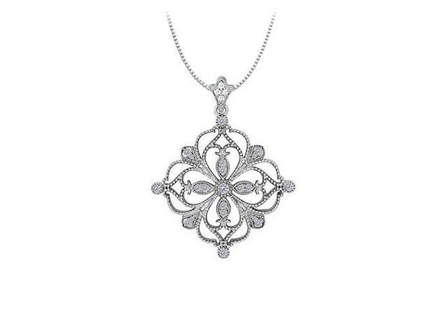 0.33 Carat Total Cubic Zirconia in 14K White Gold Floral Pattern Fashion Pendant