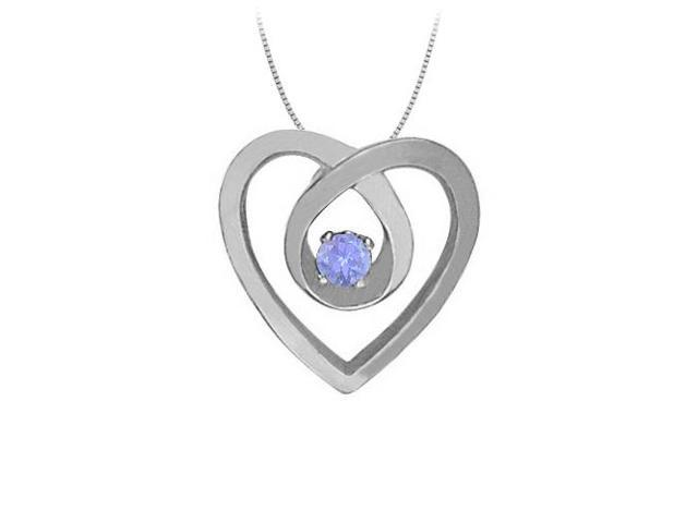 December Birthstone Tanzanite Heart Pendant Necklace in Fine Sterling Silver 0.10 CT TGW