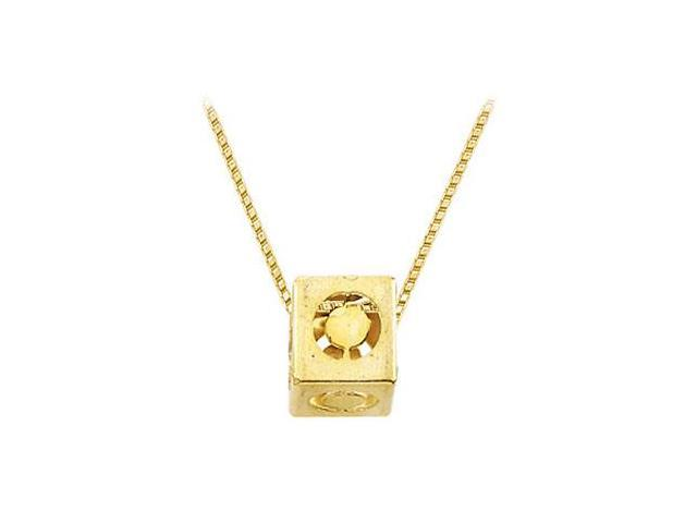 14K Yellow  Alphabet  O  Semi-Polished Block Initial Chain Slide Pendant with Outside Diameter