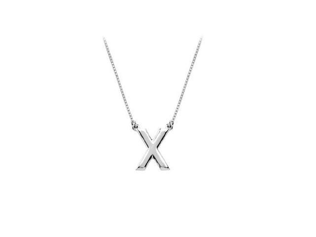 Sterling Silver Baby Charm X Block Initial Pendant