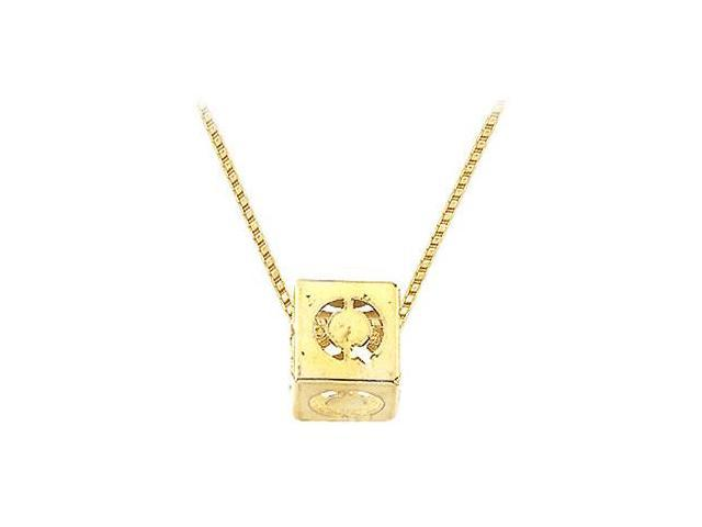 14K Yellow  Alphabet  Q  Semi-Polished Block Initial Chain Slide Pendant with Outside Diameter