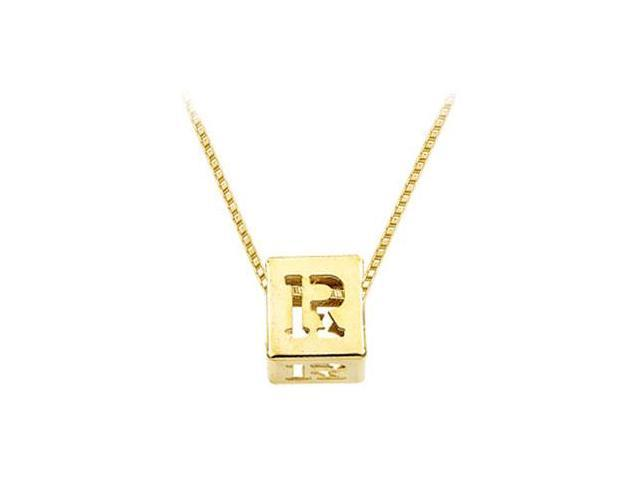 14K Yellow  Alphabet  R  Semi-Polished Block Initial Chain Slide Pendant with Outside Diameter