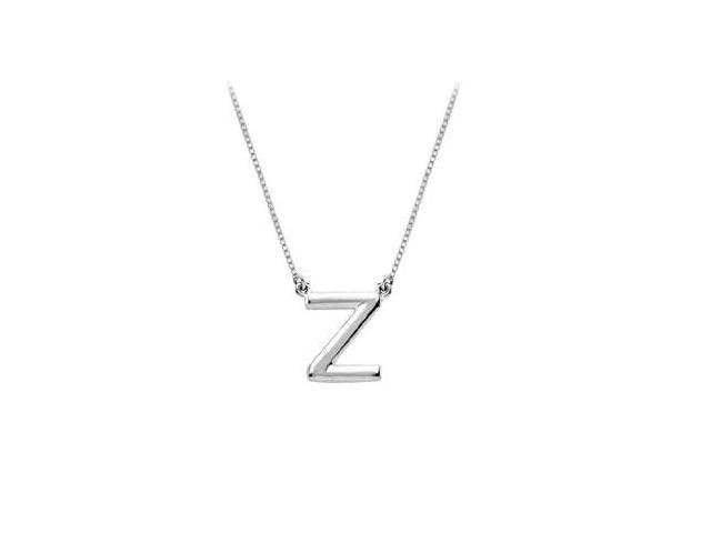 Sterling Silver Baby Charm Z Block Initial Pendant