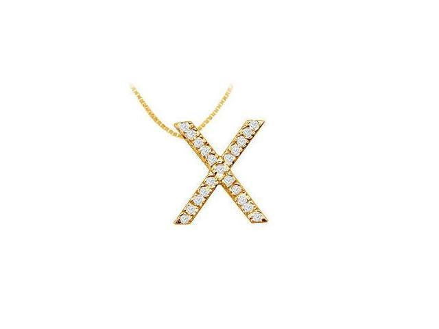 Classic X Initial Diamond Pendant  14K Yellow Gold - 0.33 CT Diamonds