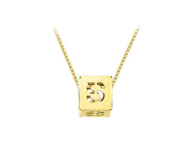 14K Yellow  Alphabet  S  Semi-Polished Block Initial Chain Slide Pendant with Outside Diameter