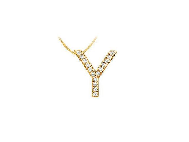 Classic Y Initial Diamond Pendant  14K Yellow Gold - 0.25 CT Diamonds