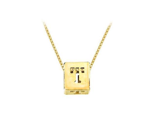 14K Yellow  Alphabet  T  Semi-Polished Block Initial Chain Slide Pendant with Outside Diameter