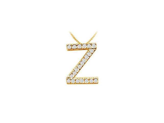Classic Z Initial Diamond Pendant  14K Yellow Gold - 0.33 CT Diamonds