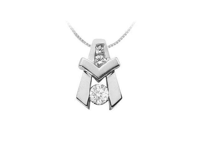 Diamond A Pendant  14K White Gold - 0.90 CT Diamonds