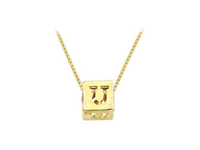 14K Yellow  Alphabet  U  Semi-Polished Block Initial Chain Slide Pendant with Outside Diameter