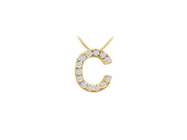 Classic C Initial Diamond Pendant  14K Yellow Gold - 0.15 CT Diamonds