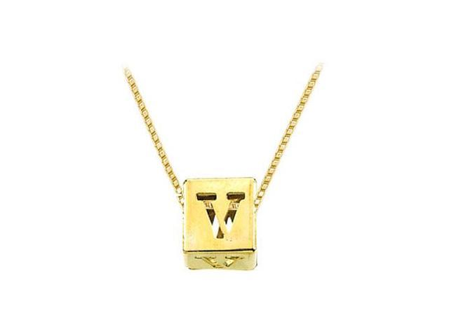 14K Yellow  Alphabet  V  Semi-Polished Block Initial Chain Slide Pendant with Outside Diameter