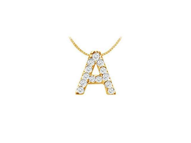 Classic A Initial Diamond Pendant  14K Yellow Gold - 0.15 CT Diamonds