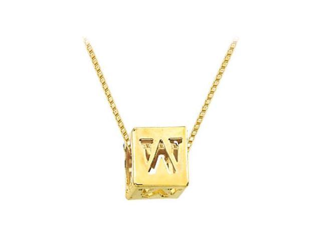 14K Yellow  Alphabet  W  Semi-Polished Block Initial Chain Slide Pendant with Outside Diameter