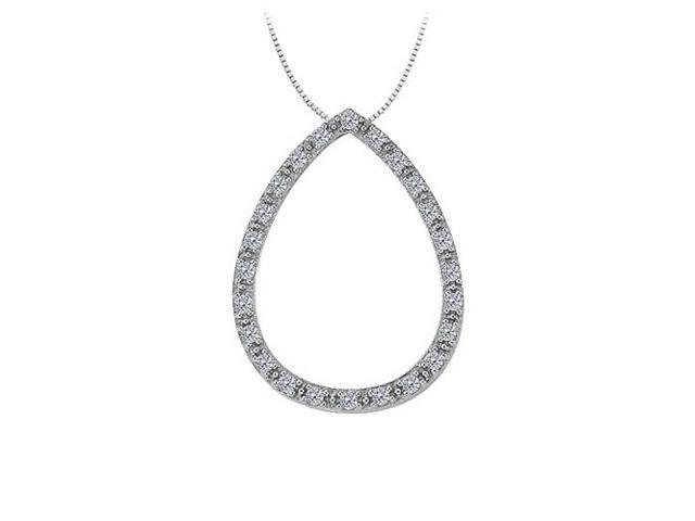 0.25 Carat Teardrop Gemstone Pendant with Diamonds in 14K White Gold with White Gold Chain