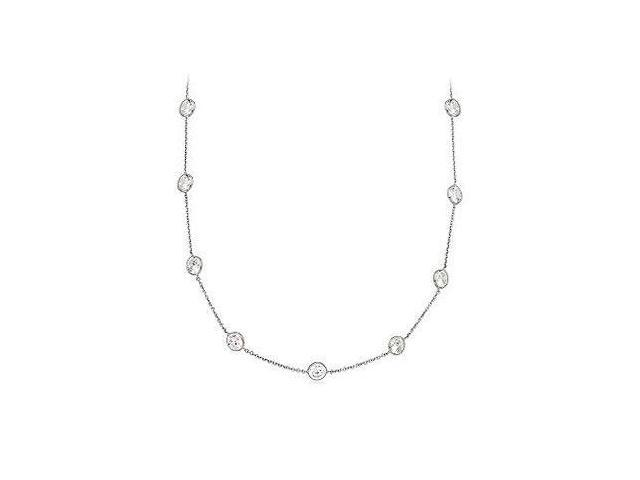 Silver Station Necklace Cubic Zirconia Diamond By The Yard  with 5.00 carat TGW
