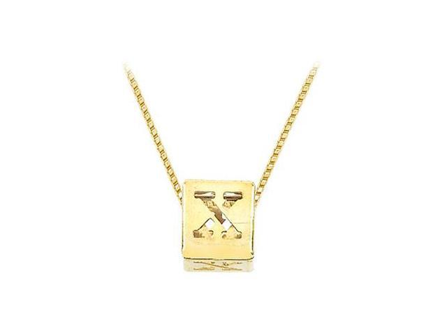 14K Yellow  Alphabet  X  Semi-Polished Block Initial Chain Slide Pendant with Outside Diameter