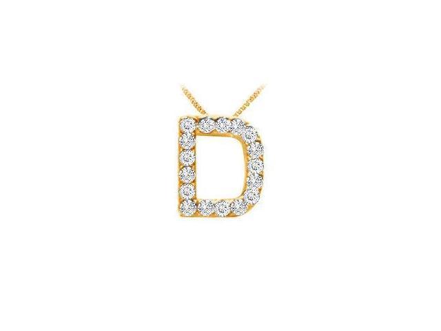 Classic D Initial Diamond Pendant  14K Yellow Gold - 0.15 CT Diamonds