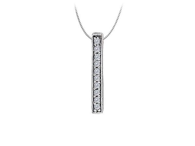 Cubic zirconia Straight Line Pendant in 14K White Gold 0.10 CT TGWPerfect Jewelry Gift