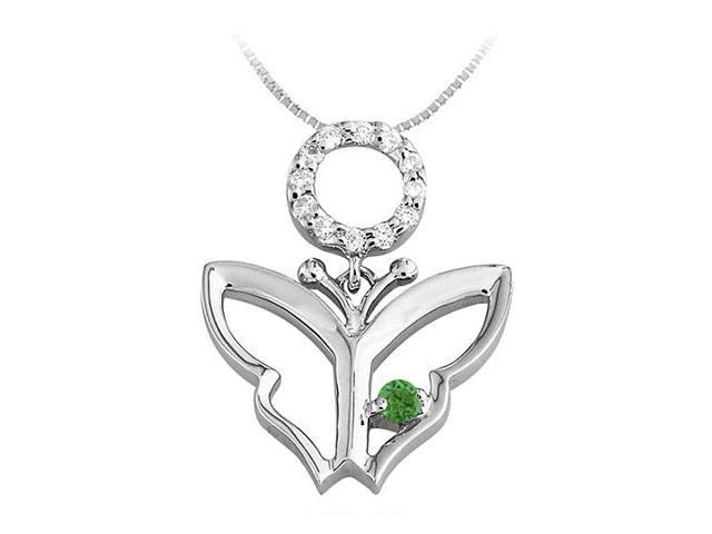 Butterfly Pendant Necklace with Diamond and Emerald in 14kt White Gold 0.15 CT TGW
