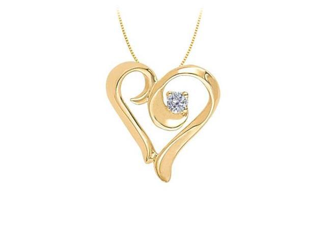 April birthstone CZ Heart Pendant in Sterling Silver with Yellow Gold Vermeil 0.10 CT TGW
