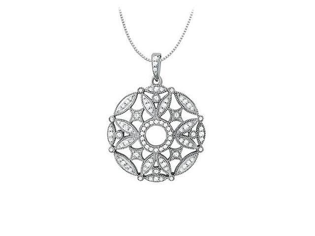 0.50 Carat Total Diamonds in 14K White Gold Floral Circle Fashion Pendant