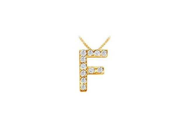 Classic F Initial Diamond Pendant  14K Yellow Gold - 0.15 CT Diamonds