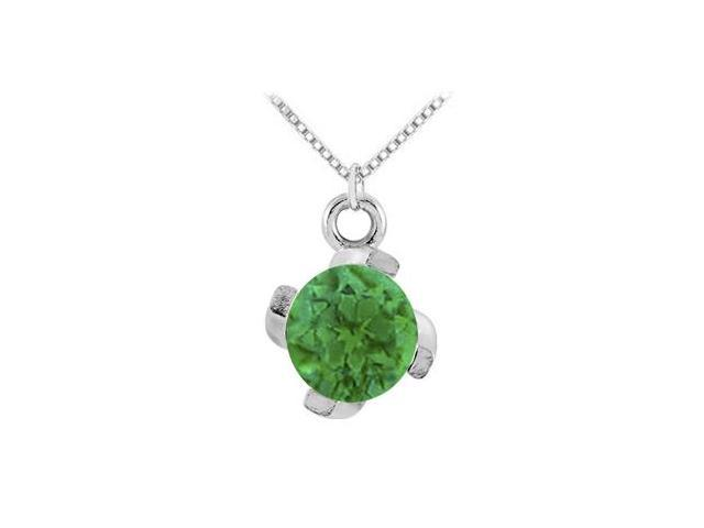 May Birthstone Created Emerald Pendant in 14kt White Gold 1.00 CT TGW