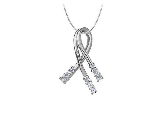 Cubic Zirconia Fashion Pendant in 14K White Gold 0.33 CT TGWJewelry Gift for Women