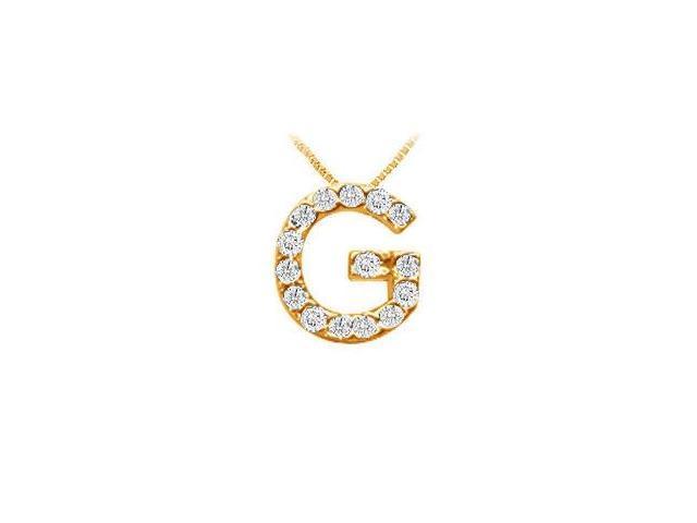 Classic G Initial Diamond Pendant  14K Yellow Gold - 0.15 CT Diamonds