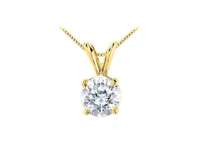 18K Yellow Gold Vermeil Triple AAA Quality CZ Solitaire Pendant in Sterling Silver 7 Carat CZ