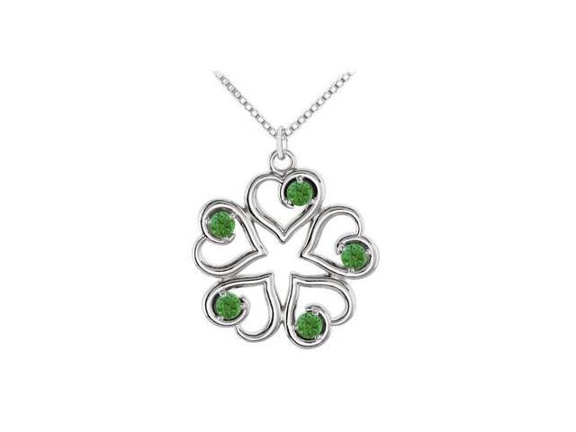 May Birthstone Created Emerald Heart Pendant in 14kt White Gold 0.25 CT TGW