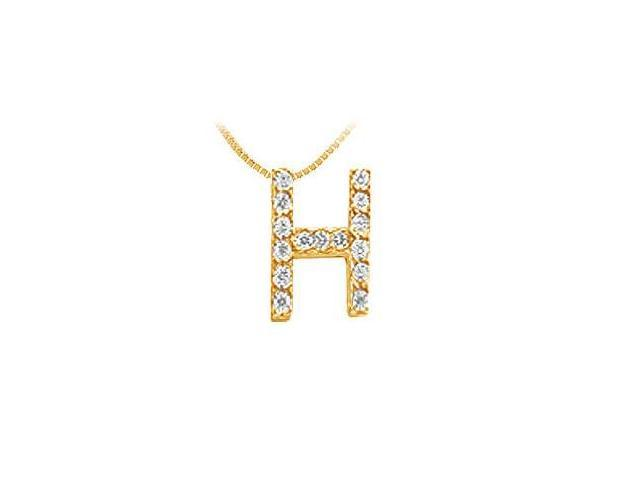 Classic H Initial Diamond Pendant  14K Yellow Gold - 0.15 CT Diamonds