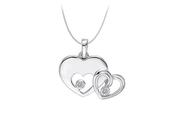 April birthstone Cubic Zirconia Heart Pendant in Sterling Silver 0.20 CT TGW