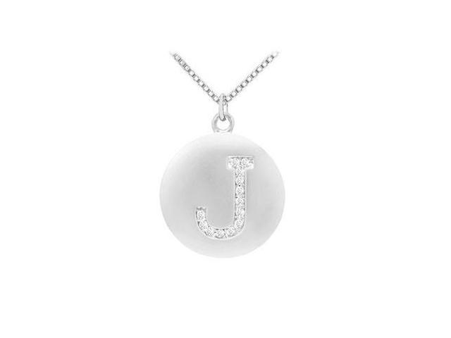 Diamond Initial J Disc Pendant  14K White Gold - 0.20 CT Diamonds