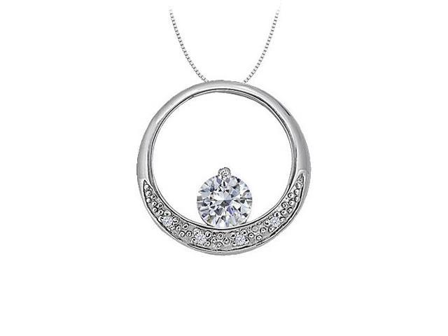 Dancing Cubic Zirconia Circle Pendant in White Gold 0.50 CT TGWJewelry Gift