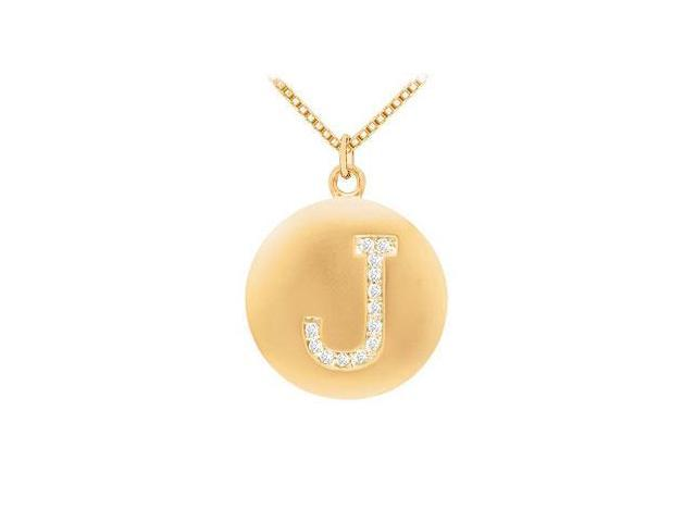 Diamond Initial J Disc Pendant  14K Yellow Gold - 0.20 CT Diamonds