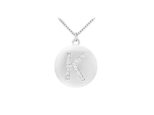 Diamond Initial K Disc Pendant  14K White Gold - 0.25 CT Diamonds