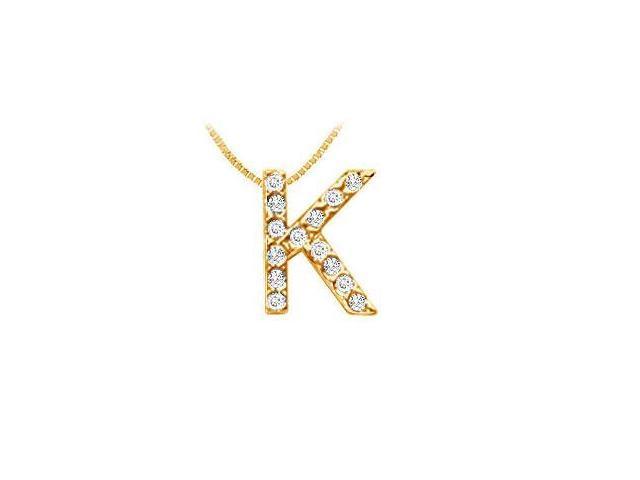 Classic K Initial Diamond Pendant  14K Yellow Gold - 0.15 CT Diamonds