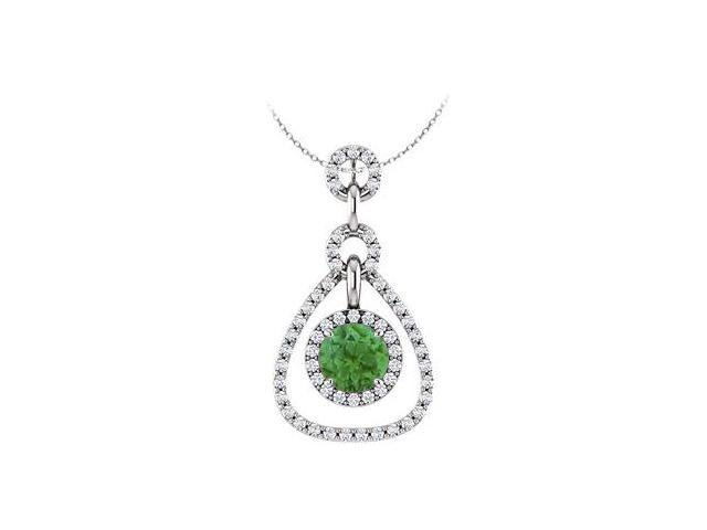 May Birthstone Created Emerald and CZ Tear Drop Halo Pendant in 14K White Gold 1.50 CT TGW