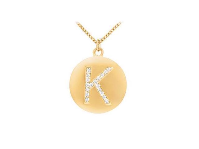 Diamond Initial K Disc Pendant  14K Yellow Gold - 0.25 CT Diamonds