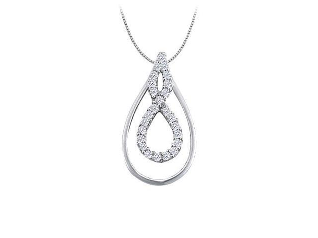 0.25 Carat Double Teardrop Pendant with Cubic Zirconia 14K White Gold with White Gold Chain